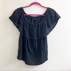 Lucky brand off shoulder crochet lace top size LG